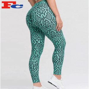 Legging Manufacturer Women High Waist Snake Printed Yoga Pants Scrunch Butt Leggings