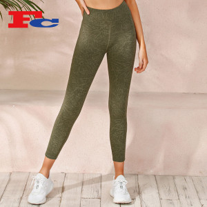 Fitness Tight Pants Washed Textured Print Yoga Pants Wholesale Manufacturer