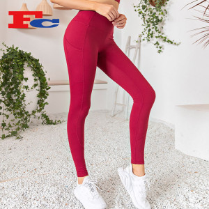 Custom Logo Yoga Pants Side Zip Pockets High Waist Hips Tights
