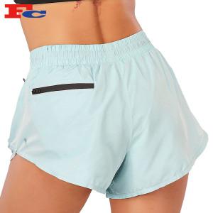 Pocket Fitness Custom Shorts With Logo Stretch Yoga High Waist Running Mesh Biker Shorts