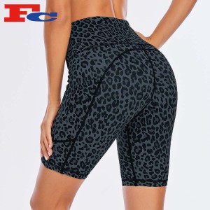 Quality Biker Shorts Leopard Print Athletic Jogger Yoga Shorts For Women