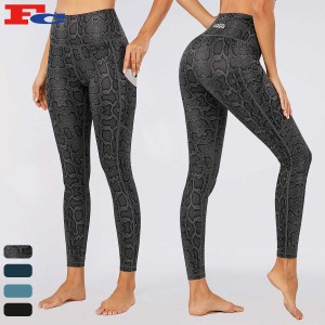 Yoga Leggings Manufacturer Snake Prints Elastic Waist Stretchy Workout Pants For Women