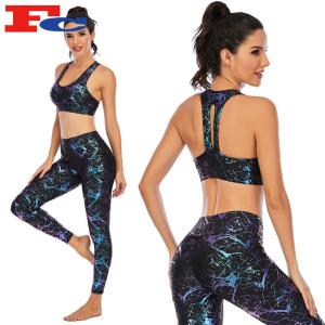 Custom Printed Gym Clothes Shiny Women Fitness Yoga Wear Supplier