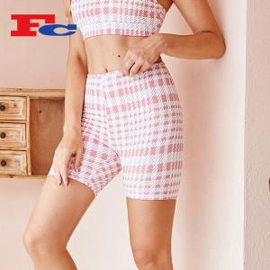 Houndstooth Pattern High Waist Hip Lift Biker Shorts  For Women