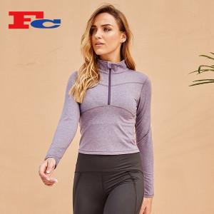 Half Zipper Neckline Long-Sleeved Top Women's Sports Jacket Wholesale