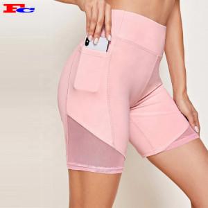 High Waist Compression Scrunch Butt Fitness Yoga Biker Shorts with Phone Pocket