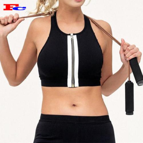 Soutien-gorge de sport en gros femmes fabricant de soutien-gorge à glissière avant sexy