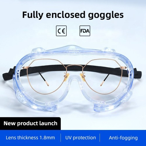 have stock chemical resistant enclosed protective safety glasses anti-saliva anti-fog medical safety goggles