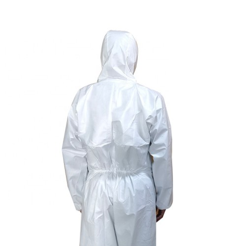 chemical resistant protective coveralls suits with zipper cover flap