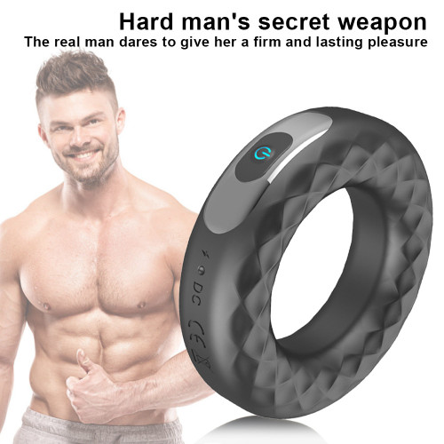 Rechargeable Silicone Vibration Lock Fine Ring Male Delay Masturbation Adult Products