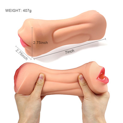 Double-point vaginal inverted model male masturbation device tpe material odor-free aircraft cup penis exerciser
