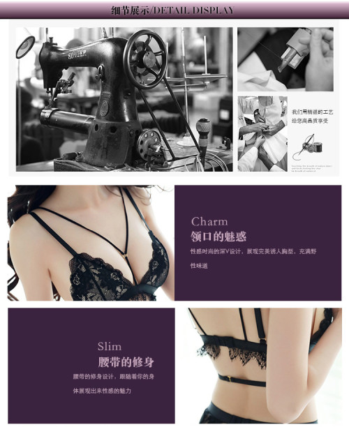 Sexy lingerie sexy female temptation garter bra underwear set three-point