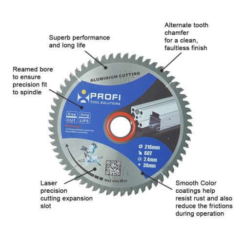 moretop industrial aluminium cutting blade 216mm 11209001