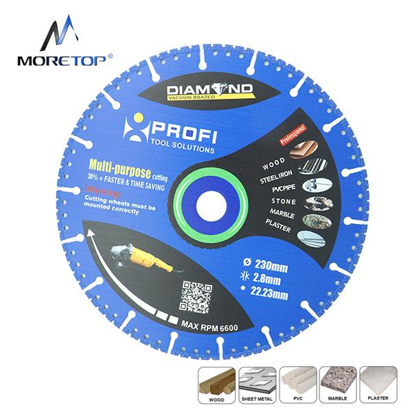 Moretop vacuum brazed diamond blade 230mm multipurpose cutting