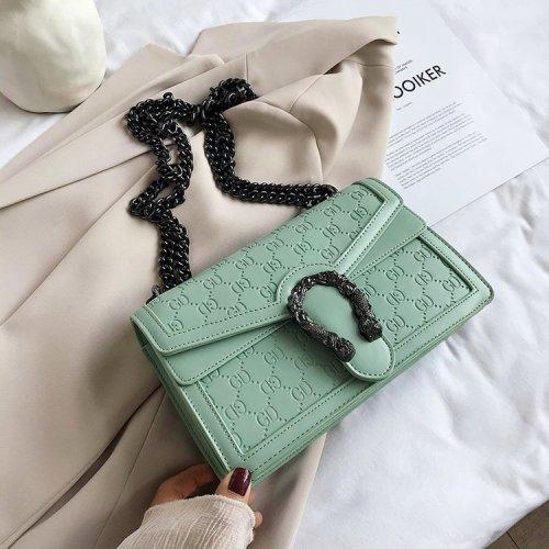 Metal ring decoration pu lady shoulder bags wholesale Shoulder  Chain decoration bags  Ladies bags Messenger Bags