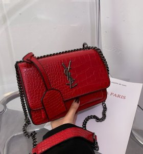 YSL style chain embossing fashion pu satchel  bags shoulder bags