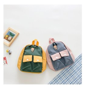 Functional Colorblock Children's  School Canvas backpack