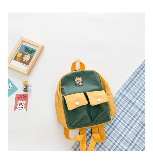 Functional Colorblock Children's  School Canvas backpack