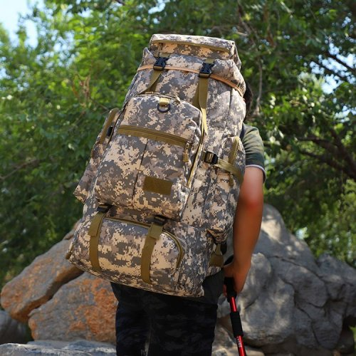75L Waterproof spacious hiking backpack camouflage sports backpack scratch proof  backpack