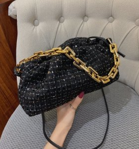 Fashion Chain  Strap Delicate Sequins  Grid Woolen Handbag Women Tote Bags