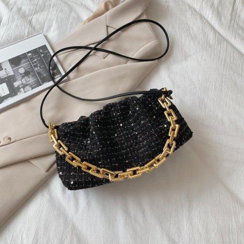 Fashion Chain  Strap Delicate Sequins  Grid Woolen Handbag Women Tote Bags
