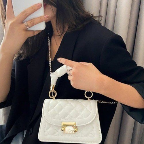 Custom fashion  Women's mini square handbag with flap Totes bag