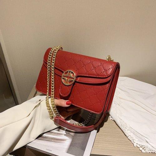 Diamond quilting pattern  metal chain rectangular women's shoulder bag crossbody bag