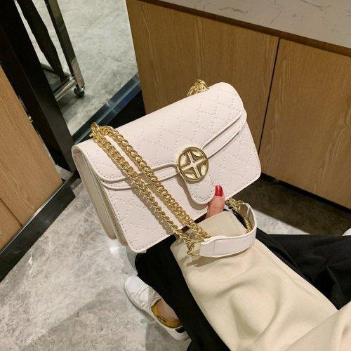 Diamond quilting pattern  metal chain rectangular women's shoulder bag crossbody bags