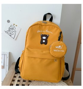 Pure color with bear pattern  Waterproof  canvas teen students school bag