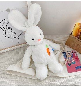 White Rabbit Velvet  Shoulder Bag Cartoon Toy  Bag For Girls