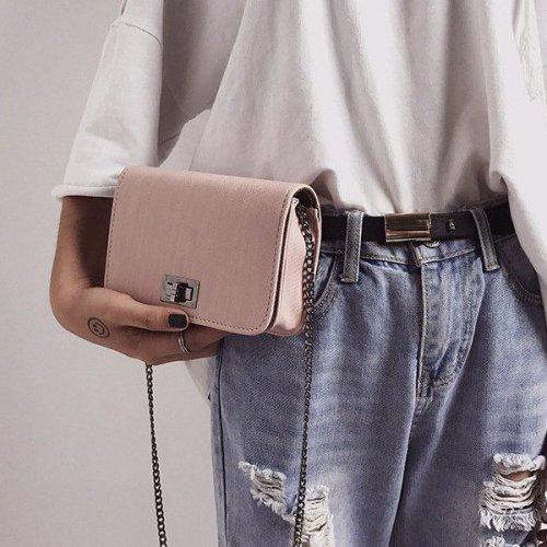 Hairline chain strap Wood Grain Rectangular Shoulder Bags Handbags