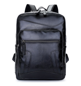 Waterproof Large Capacity Men Student PU Leather Backpack
