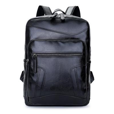 Waterproof Large Capacity Men Student PU Leather Backpack