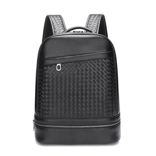 Stylish weave genuine leather backpack men business genuine leather laptop backpack