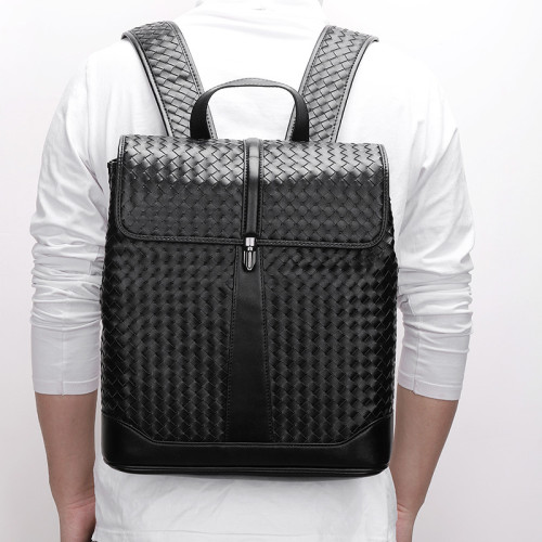 Popular weave genuine leather backpack women new design genuine leather backpack