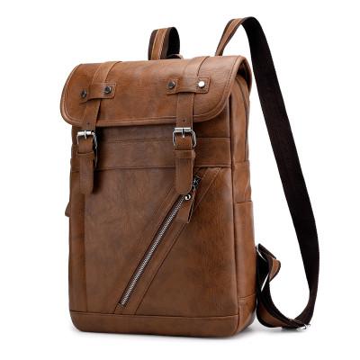 Men's fashion pu backpack bag waterproof large capacity multi-function backpack