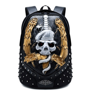 Creative  rivet multifunctional outdoor travel wolf owl 3D animal head pu leather laptop backpack