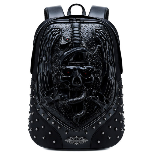 Creative  rivet bags  multifunctional outdoor travel wolf owl 3D animal head pu leather laptop backpack outdoor bags