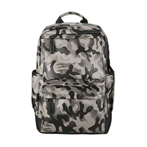 Supplier wholesale travel leisure camouflage PU leather waterproof laptop USB charging backpack
