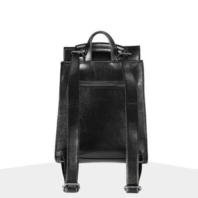 High Quality Youth Leather bag Teenager Black Backpacks