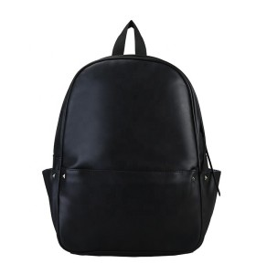 Custom New style men and women leisure travel black pu backpack .
