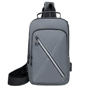 Wholesale business light weight usb men polyester chest crossbody bag