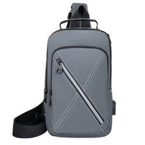 Wholesale business light weight usb men polyester chest crossbody bag