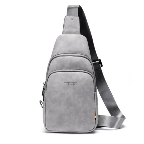 Fashion PU leather cross body bag men sport travel casual shoulder messenger bag for men with earphone