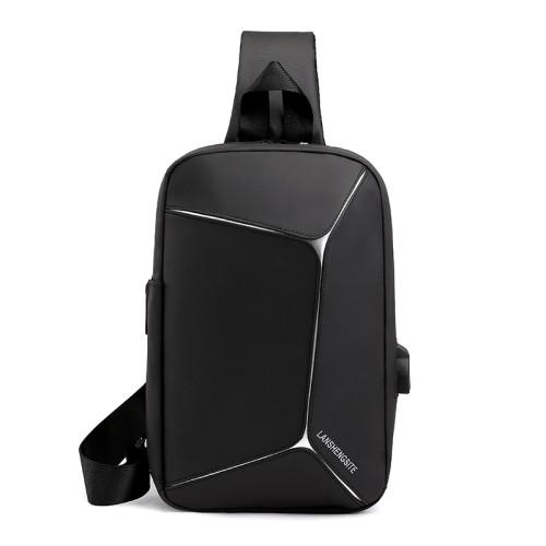 Men PU leather travel business USB charger crossbody bags messenger shoulder bag for men