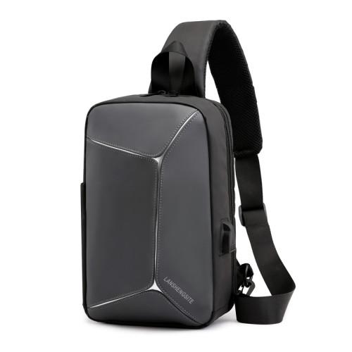 Men PU leather travel business USB charger crossbody messenger shoulder bag for men