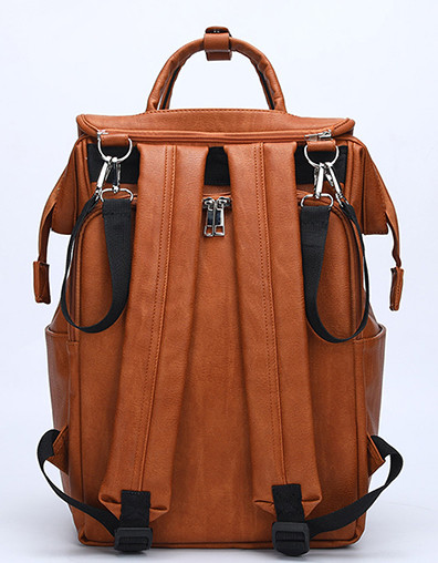 Diaper Bag With Changing Station Wickeltasche .Waterproof Anti-theft PU Leather Diaper Bag