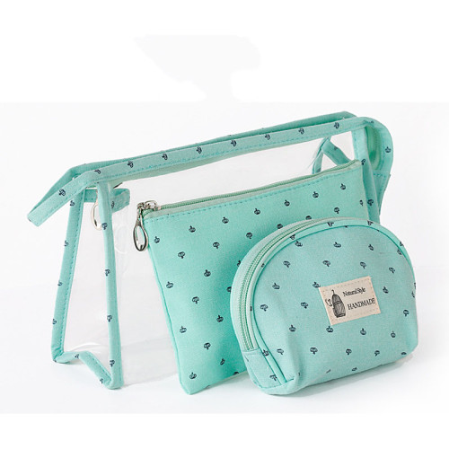Hot small crown transparent PVC travel cosmetic bag 3pcs multi-functional waterproof toiletry bag