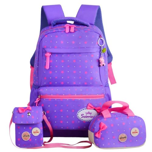 BSCI factory new cute design nylon material 3 in one kids school students backpack bags