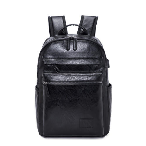 Wholesale new design mens laptop leather PU backpack with USB charging port